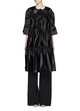 'Tamworth' silk satin tiered ruffle dress coat