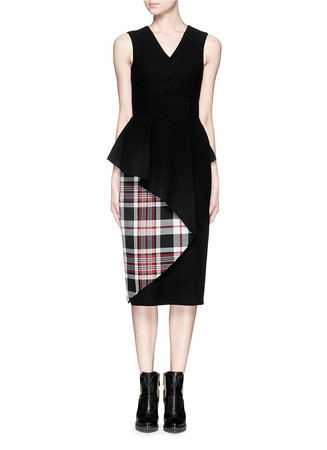 Tartan plaid peplum waist felt dress