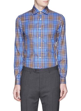 Tartan plaid spread collar poplin shirt