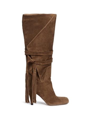 Tassle tie fold cuff suede boots
