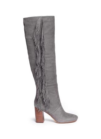 'Taylan' fringe suede knee high boots