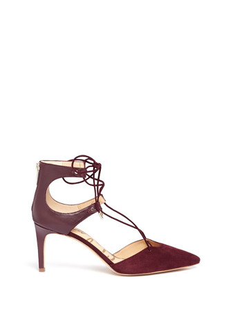 'Taylor' lace-up suede and leather pumps