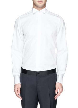 Textural dot tuxedo shirt