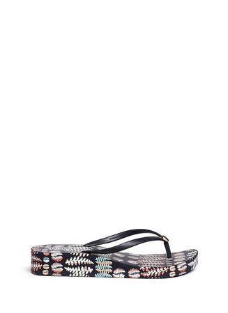 'Thandie' fern print flip flops