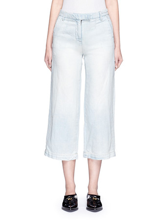 'The Cropped Neat' cotton-linen flared denim pants