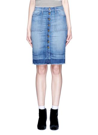 'The Dotty' released hem button denim skirt