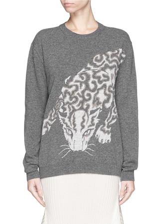 Tiger intarsia virgin wool sweater