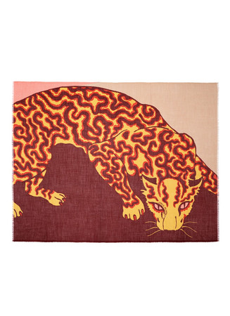Tiger print wool-silk-cashmere scarf
