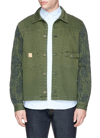 Topography embroidery sleeve military jacket