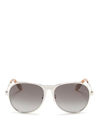 Tortoiseshell acetate tip metal round aviator sunglasses
