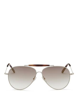Tortoiseshell bar metal aviator sunglasses