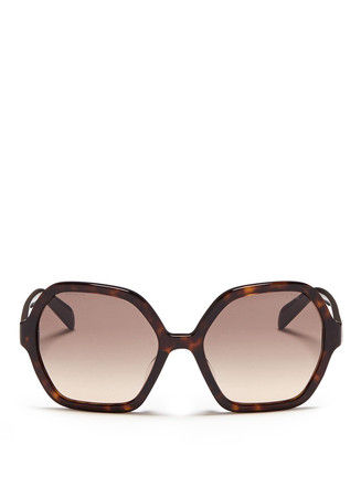 Tortoiseshell effect acetate hexagonal sunglasses