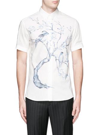 Tree print poplin shirt