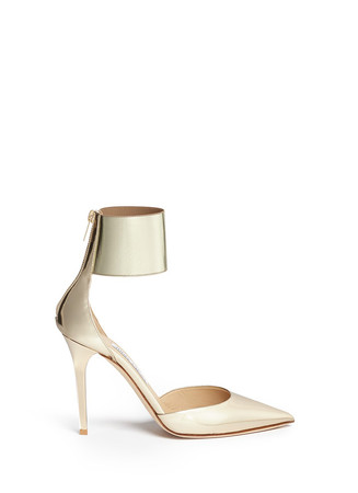 'Trinny 100' elastic ankle cuff metallic leather pumps