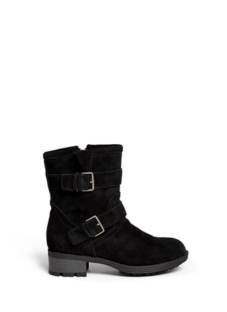 'Troy' buckle strap suede junior boots