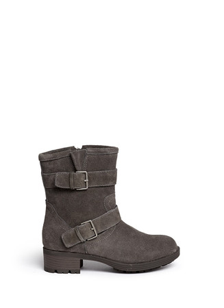'Troy' buckle strap suede junior boots