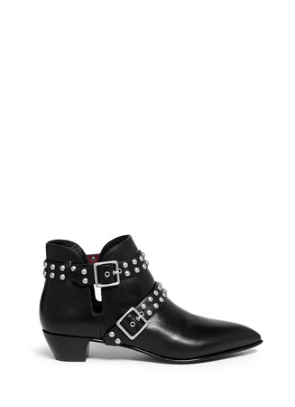 'True Rebel Carroll' stud strap leather ankle boots