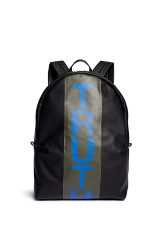 'Truth' print canvas backpack