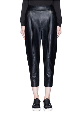 Tuck pleat lambskin leather pants