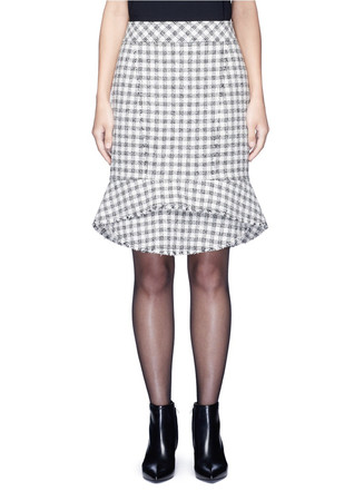 Tweed peplum pencil skirt