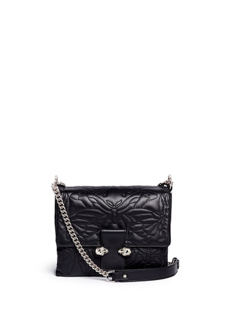 Twin skull quilted butterfly leather satchel