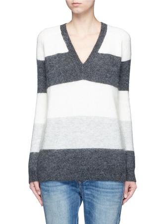 'Vee' stripe mohair-wool blend sweater