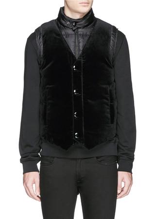 Velvet front down vest