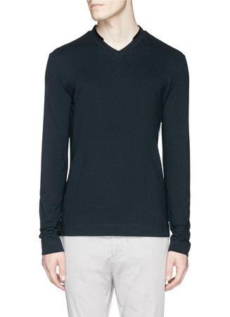 Velvet trim cotton-modal T-shirt