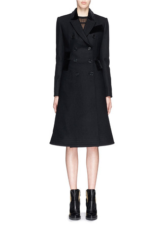 Velvet trim double breasted compact wool felt coat