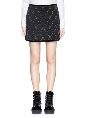Velvet trim hourglass stud sateen mini skirt