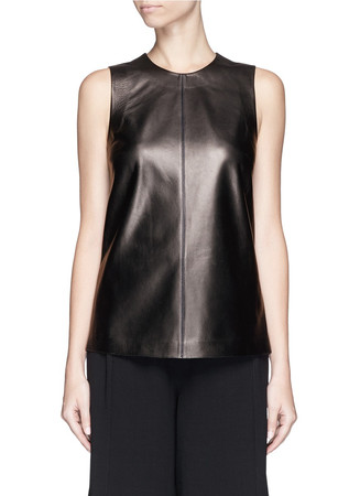 Vent back leather tank top