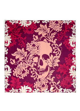 'Victorian Flower Skull' silk chiffon scarf