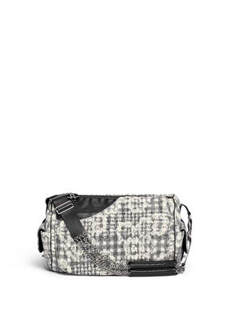 Vintage Chanel bouclé lace barrel bag