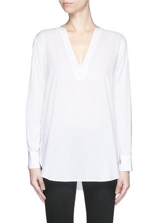 V-neck cotton lawn tunic shirt