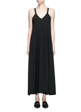 V-neck crepe maxi dress