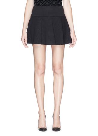 Waffle jersey drop waist flare skirt
