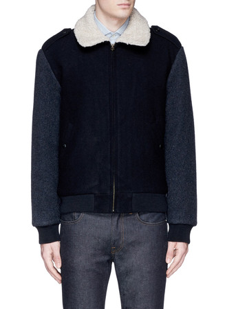 Wallace & Barnes Sherpa-collar constrast wool bomber jacket