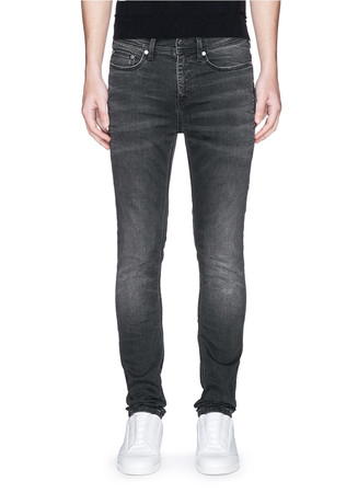 Washed stretch denim skinny jeans