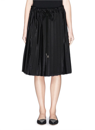 Washed taffeta drawstring pleat skirt