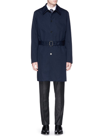Water resistant twill Mackintosh coat