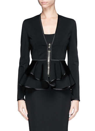 Waterfall peplum double-bonded jersey jacket