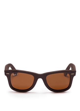 'Wayfarer' leather sunglasses