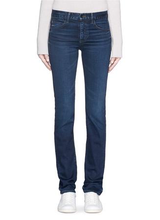 Whiskered slim straight jeans