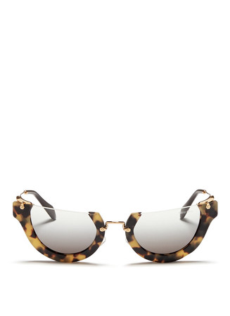 'Wink' rimless matte tortoiseshell acetate cat eye sunglasses