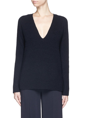 Wool cashmere Fisherman's Rib V-neck sweater