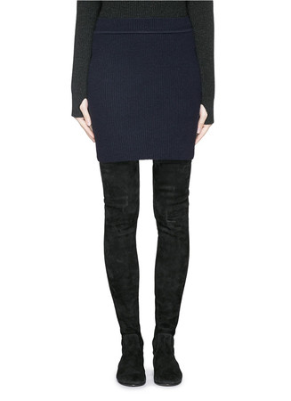Wool cashmere Fisherman's Rib pencil skirt