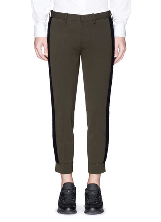 Wool side trim bi-stretch gabardine pants