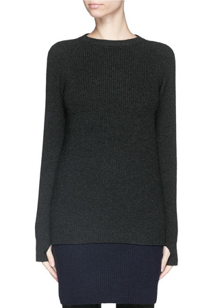 Wool-cashmere crew neck sweater