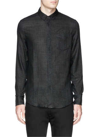 'Yokohama' Glen plaid brushed cotton shirt
