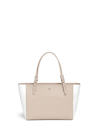 'York' small leather buckle tote